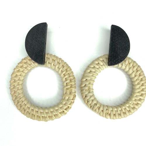 Geometric Woven & Wooden Earrings