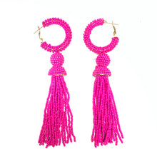 Load image into Gallery viewer, Hoop Tassel Earrings