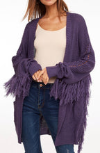 Load image into Gallery viewer, Purple Fringe Cardigan