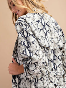 Snake Print Trench Jacket