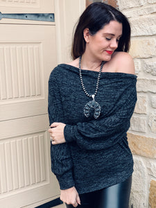 Gray Off The Shoulder Tunic