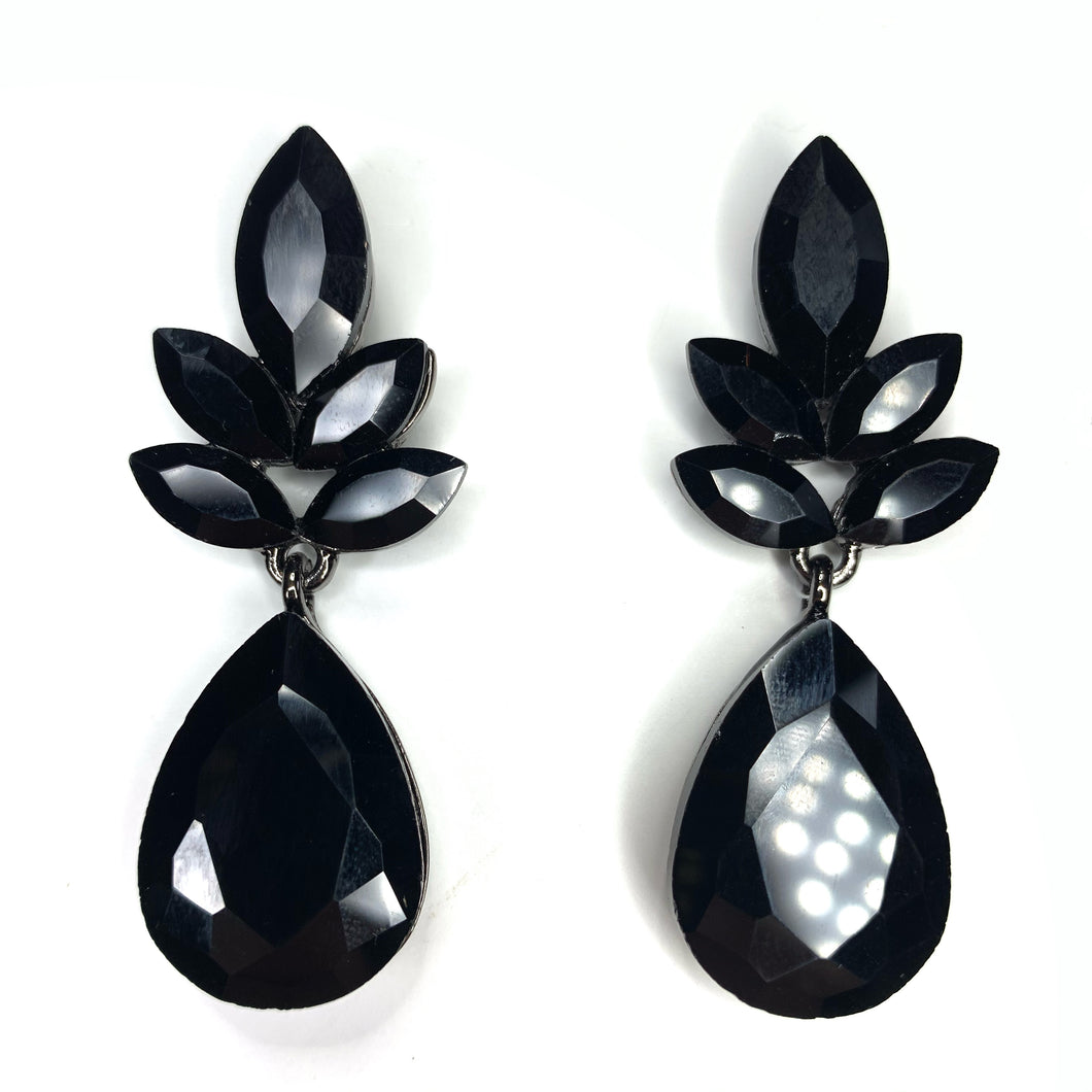 Glamour Girl Black Rhinestone Earrings