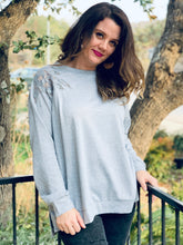 Load image into Gallery viewer, Grey Lace Shoulder Pullover