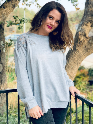 Grey Lace Shoulder Pullover