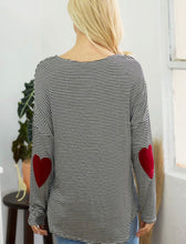 Load image into Gallery viewer, Stripe Top With Heart Elbow Patch