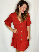 Load image into Gallery viewer, Wooden Button Rust Dress