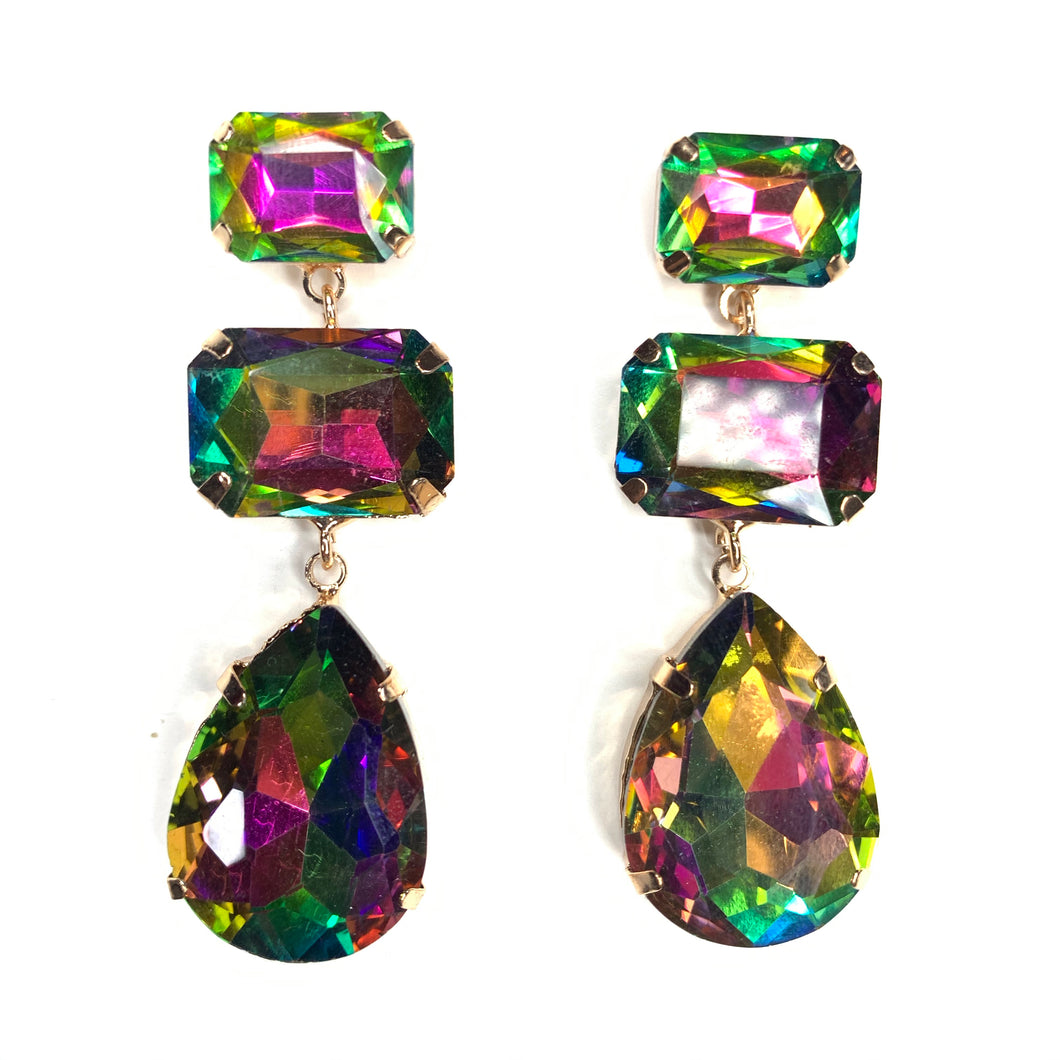Multicolor Rhinestone Dangle Earrings
