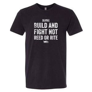 VET Tv MOS Seabee Build and Fight Next Level Unisex Black Military Style T-Shirt