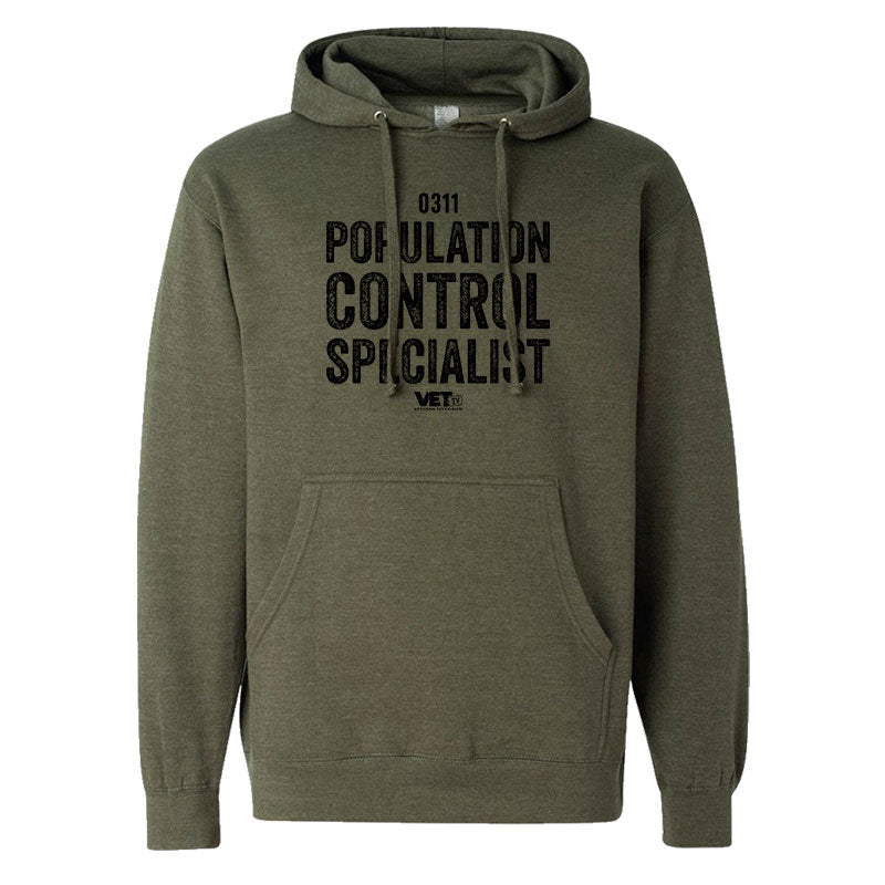 VET Tv MOS Population Control Specialist Next Level Military Green Hoodie