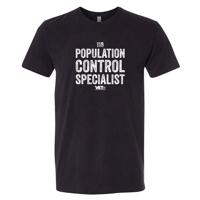 VET Tv Population Control Specialist Next Level Unisex Black Military Style T-Shirt