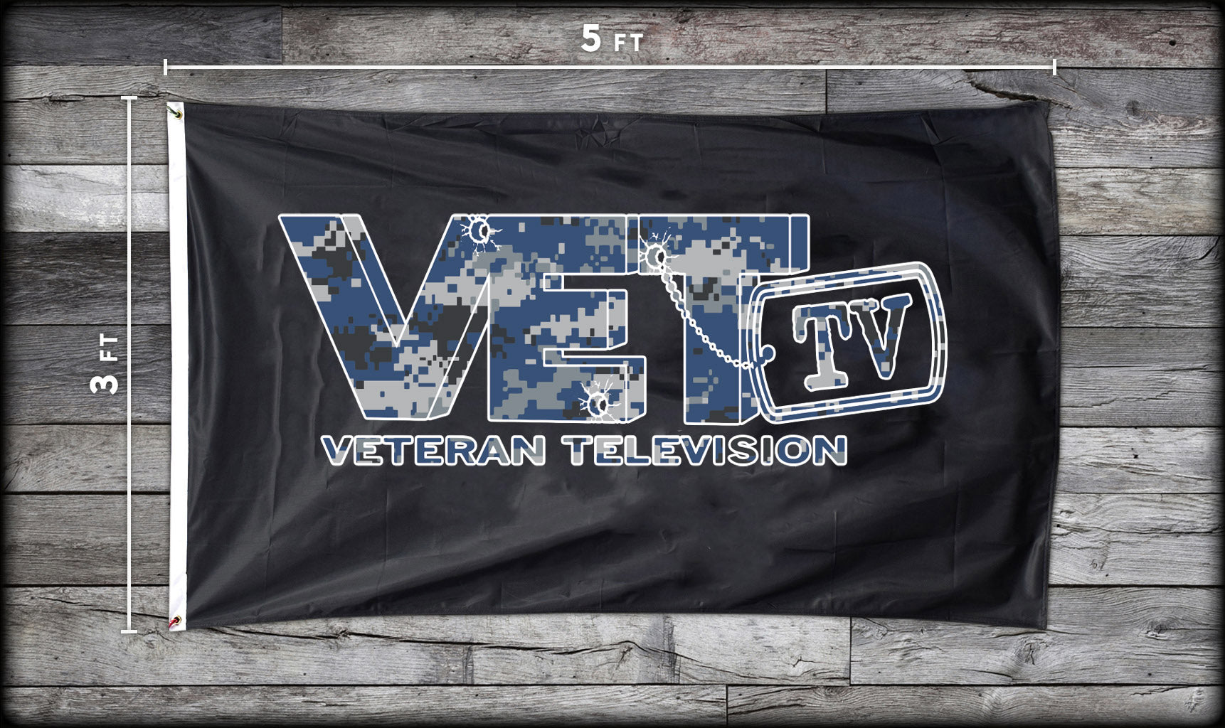 VET Tv Navy Logo Flag