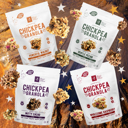 chickpea legume granola probiotics gut friendly low sugar vegan variety pack bundle bulk savings plant-based gluten-free organic eco-friendly sustainable prebiotics