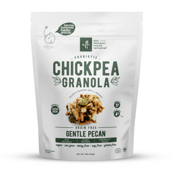 chickpea legume granola probiotics gut friendly low sugar vegan pecan pumpkin sunflower seed butter savings plant-based gluten-free organic eco-friendly sustainable prebiotics
