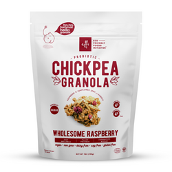 chickpea legume granola probiotics gut friendly low sugar vegan whole grain oats raspberry sunflower seed butter baobab superfood savings plant-based gluten-free organic eco-friendly sustainable prebiotics