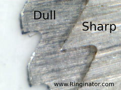 A microscope view of a sharp vs dull blade.