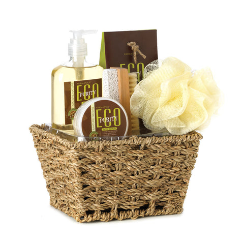 Eco Purity Bath Set In Basket - OddGifts.com