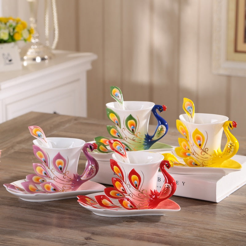 3D Peacock Tea or Coffee Cup with Saucer and Spoon