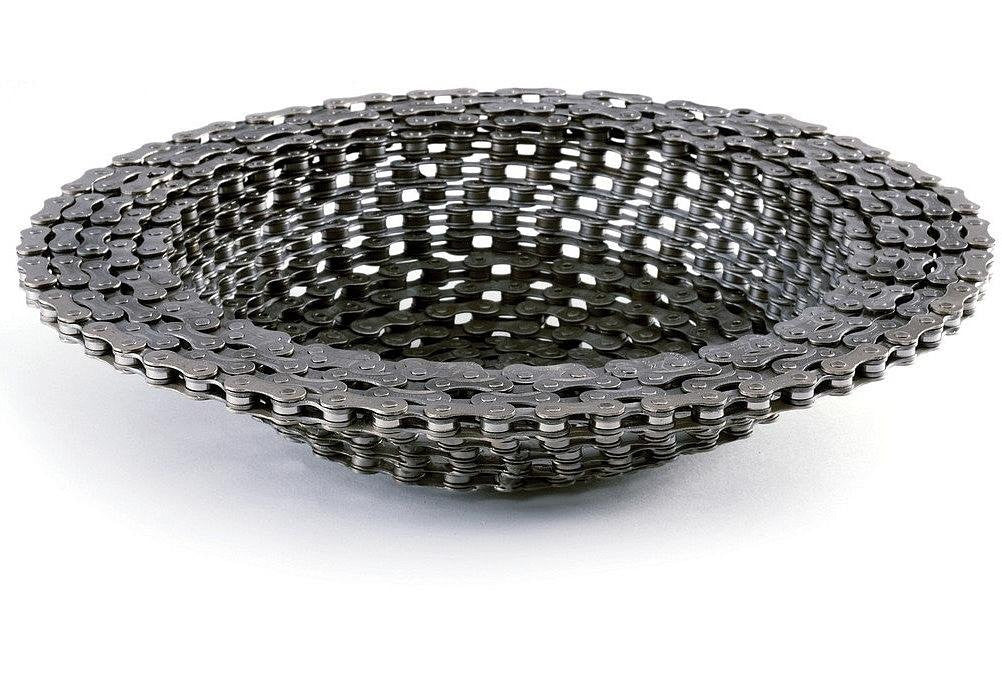 Recycled Bike Chain Bowl - OddGifts.com