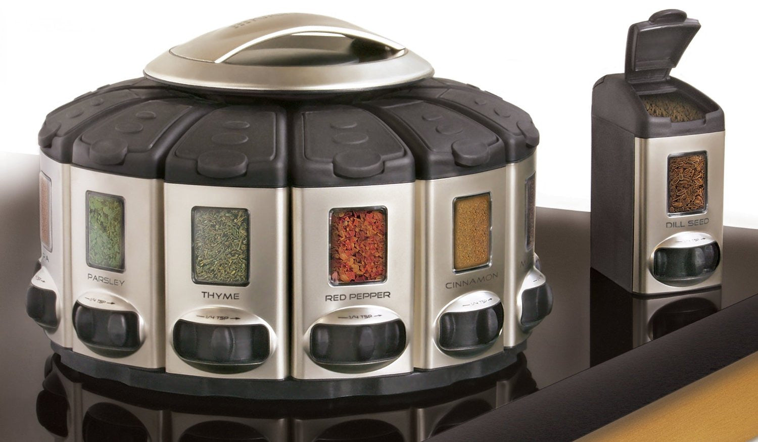 Spice Rack Carousel with Auto-Measure - OddGifts.com