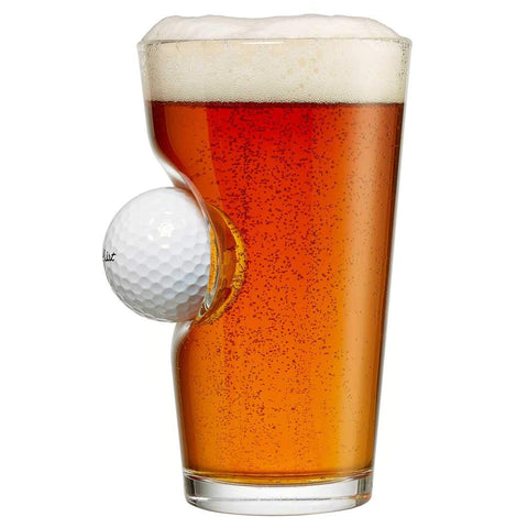 Beer Glass With A Real Golf Ball - oddgifts.com