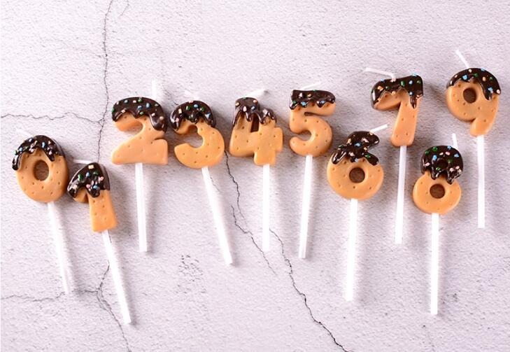 Chocolate Dipped Cookie Candle Numbers - oddgifts.com