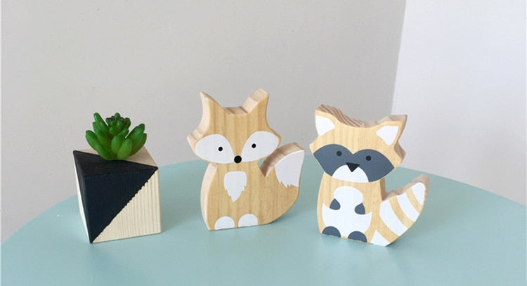 Cute Wooden Fox Figures - oddgifts.com