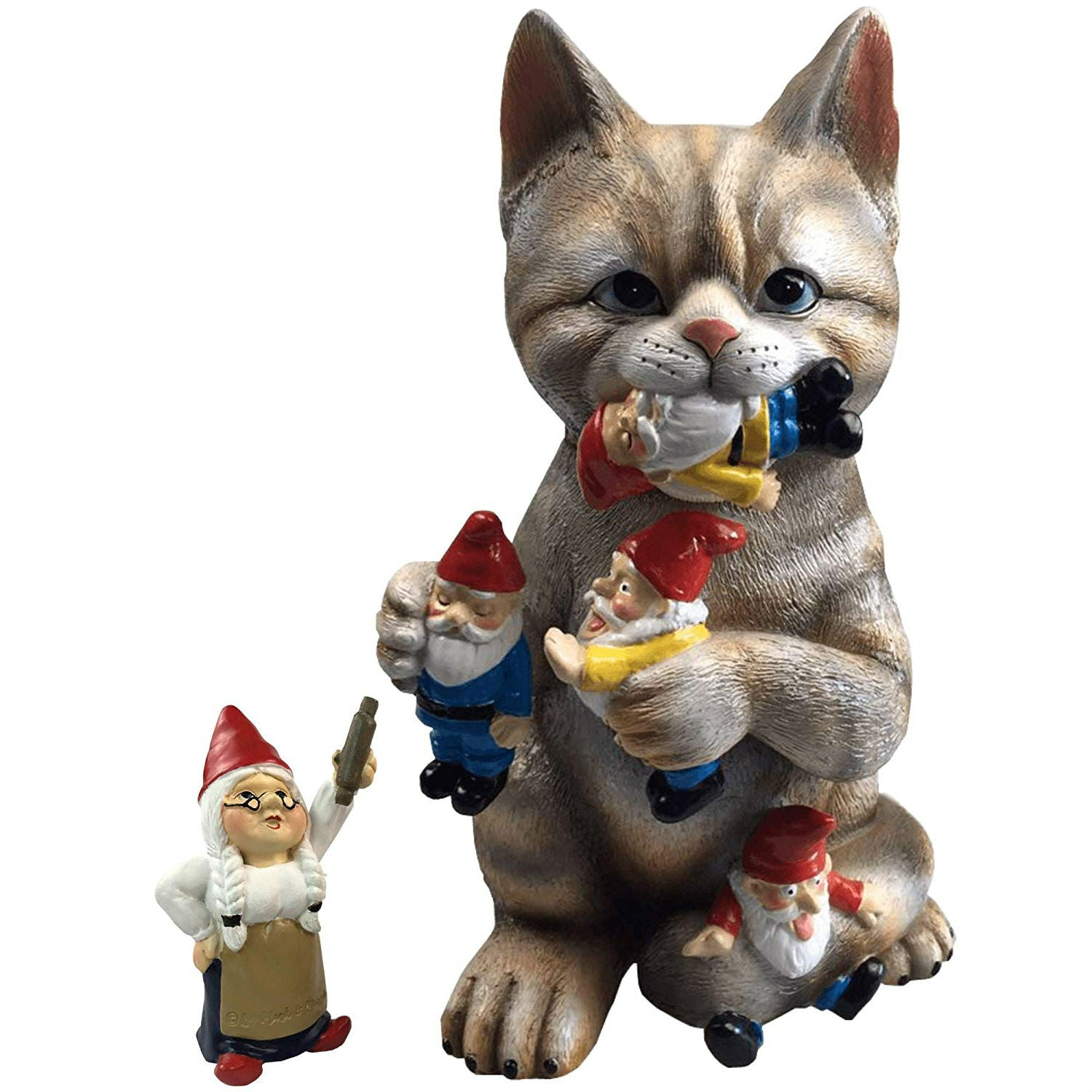 Garden Gnome Massacre Cat Statue - oddgifts.com