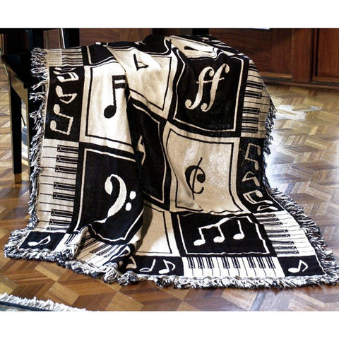 Musical Notes Throw Blanket - oddgifts.com