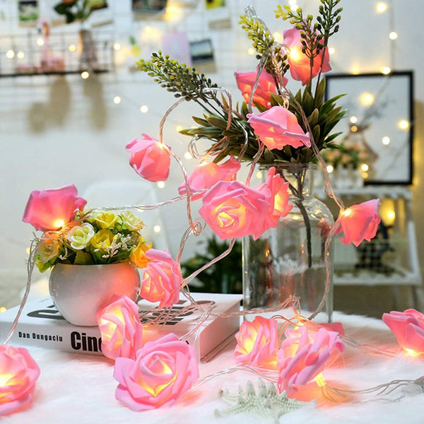 Pink Rose LED Fairy Lights Flower Garland - oddgifts.com