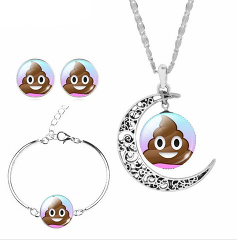 Poop Emoji Necklace, Bracelet and Earrings Set - oddgifts.com