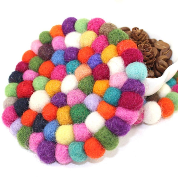 Rainbow Wool Felt Colorful Coasters