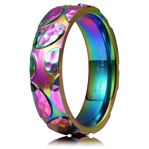Rainbow Leaf Unisex Titanium Ring - oddgifts.com