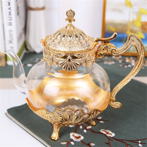 Royal Arabian Gold or Silver Glass Teapot and Coffee Pot