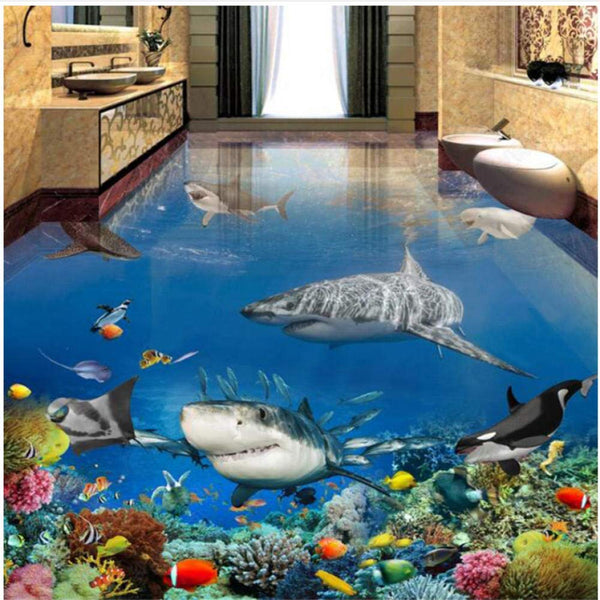 Shark Sea Floor Mural - OddGifts.com