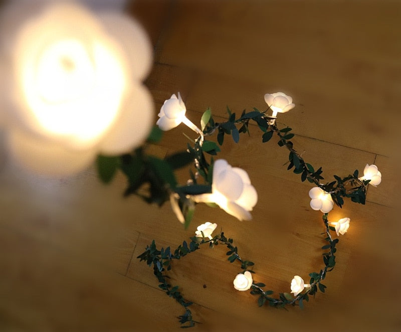 White Rose LED Fairy Lights - oddgifts.com