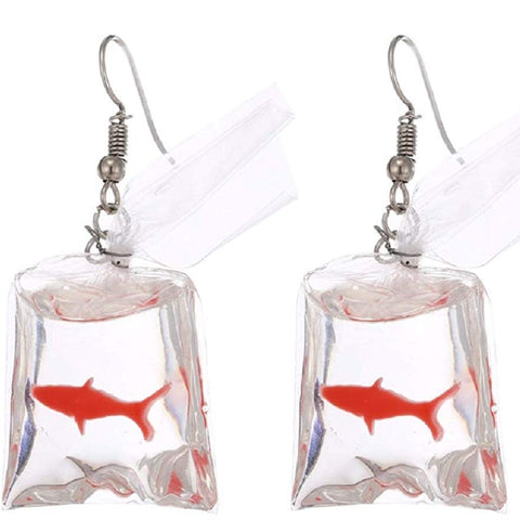 Goldfish In A Bag Earrings - oddgifts.com