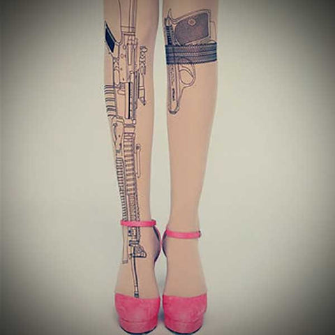 Guns Tattoo Pantyhose - OddGifts.com
