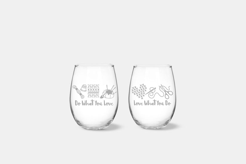 Do What You Love Stemless Wine Glasses Set/2