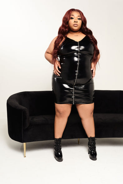 Leathered Up plus size dress