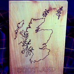 Laser-Engraved Scottish Map
