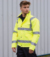 Hi Vis Bomber Jacket  (small print on left breast and larger print on back)