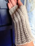 Twisted Hazel Wristwarmers Hand Knitted in Scottish Lambswool
