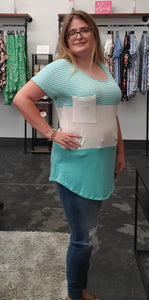 Mint Color Block Top