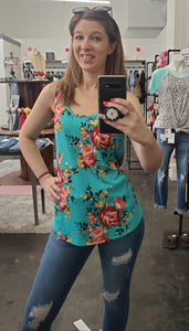 Teal Floral Sleeveless Top