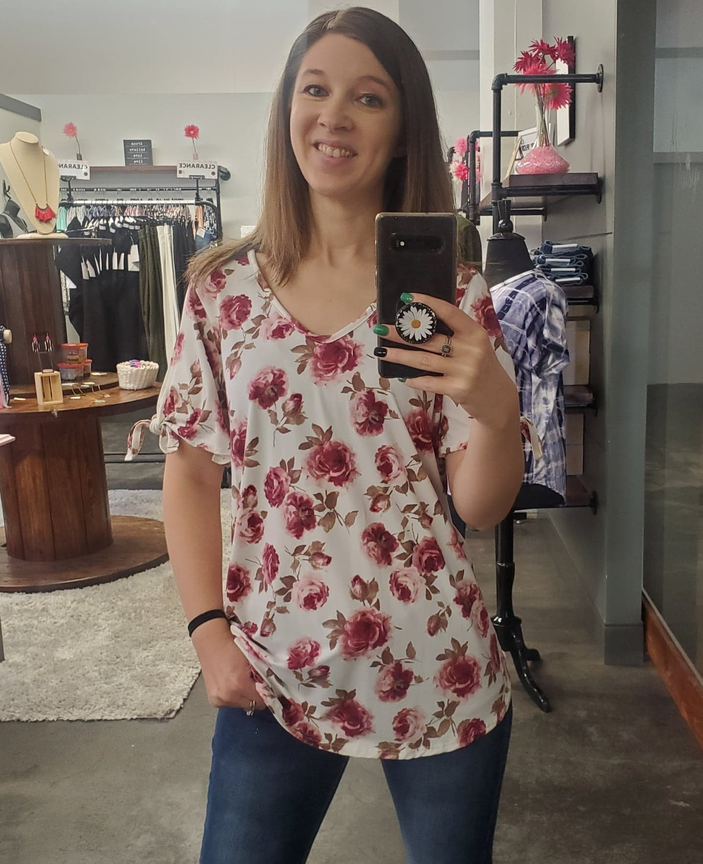 Burgundy Floral Top w/Tie Sleeves