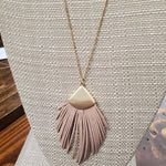 Mauve Leather Fringe Necklace