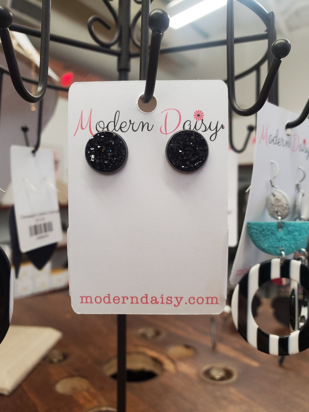 Black Druzy Earrings