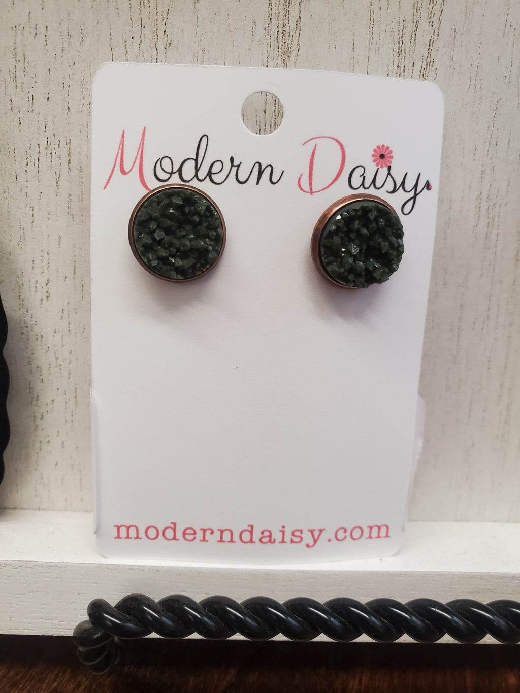 Hunter Green Druzy Earrings
