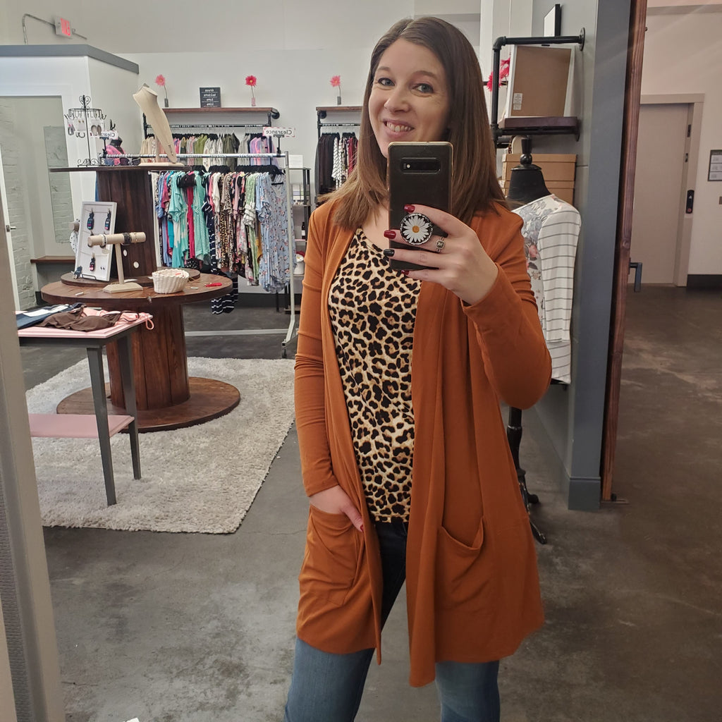 Abby Burnt Orange Flowy Cardigan
