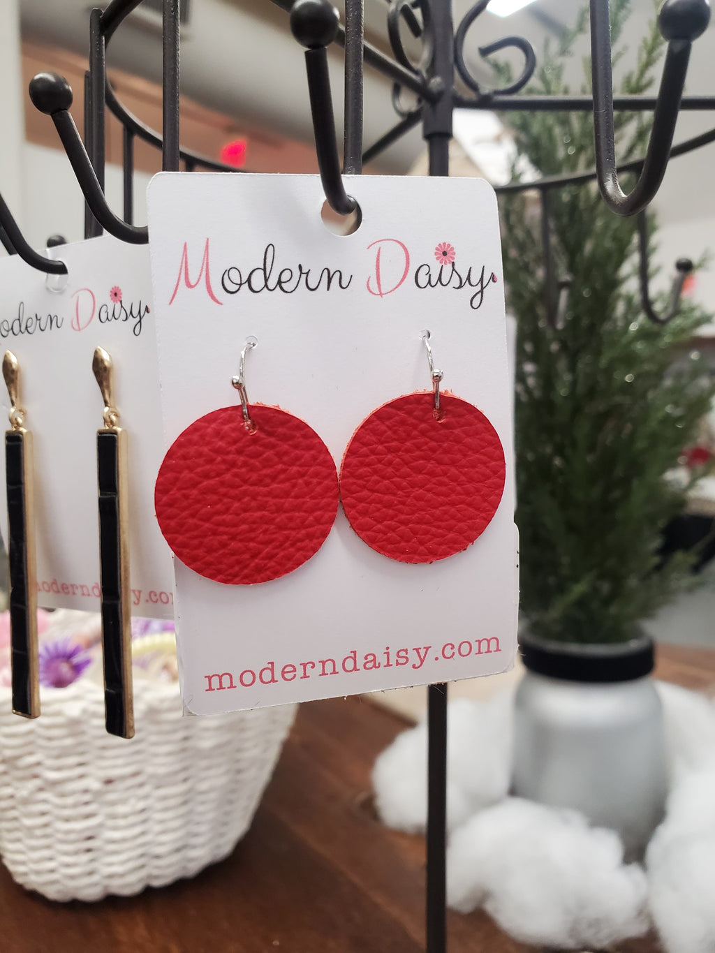 Red Mini Leather Earrings
